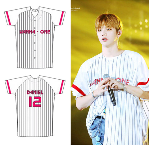 WANNA ONE WHITE RED BASEBALL CONCERT JERSEY
