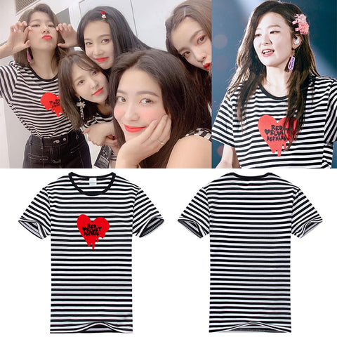 RED VELVET REDMARE BLACK WHITE STRIPED SHIRT