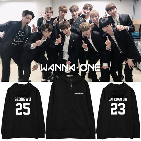 WANNA ONE BLACK MEMBER ZIP UP HOODIES