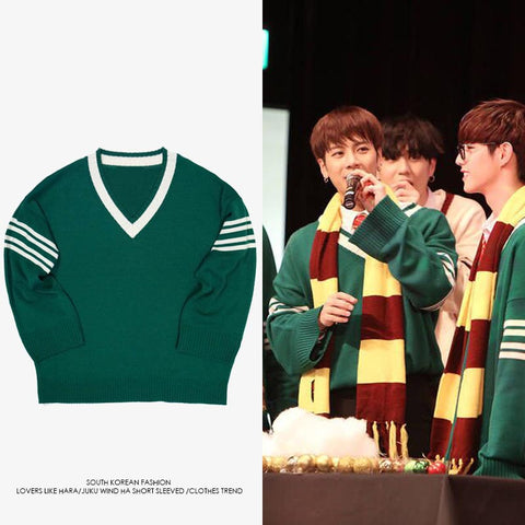 GOT7 EXO CHANYEOL MONSTA X MINHYUK V NECK SWEATER