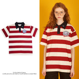 NO WONDERS RED STRIPED POLO SHIRT