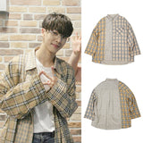 HIGHLIGHT GIKWANG WANNA ONE GUANLIN BEIGE FLANNEL SHIRT