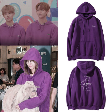 WANNA ONE DAEHWI JINYOUNG TWICE MOMO BEAR PURPLE HOODIE