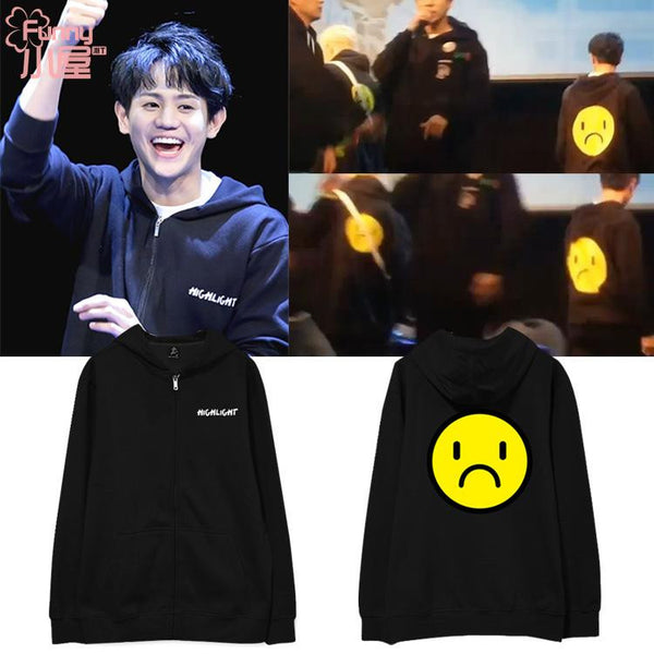 HIGHLIGHT YOSEOB SAD FACE ZIP UP HOODIE