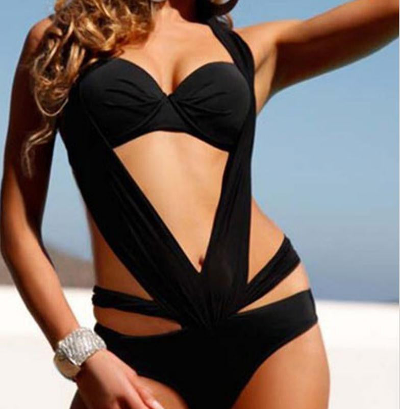 BLACK NECK UNIQUE DESIGN SEXY ONE-PIECE SWIMSUIT