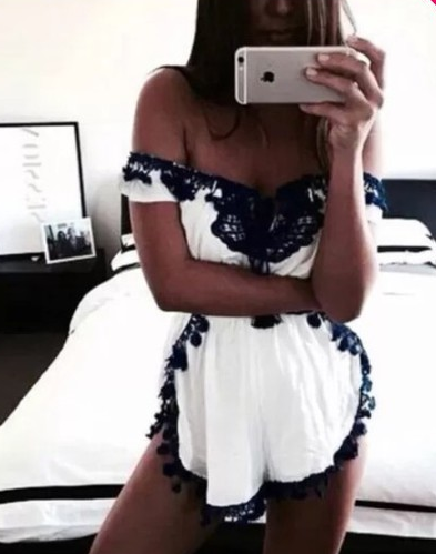 Cute lace off shoulder romper