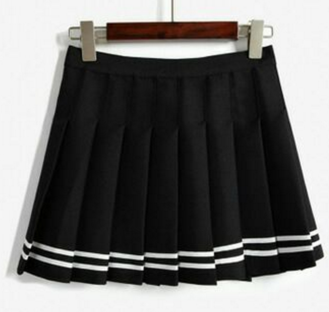 Striped navy wind hit the color waist AA pleated skirt umbrella skirts
