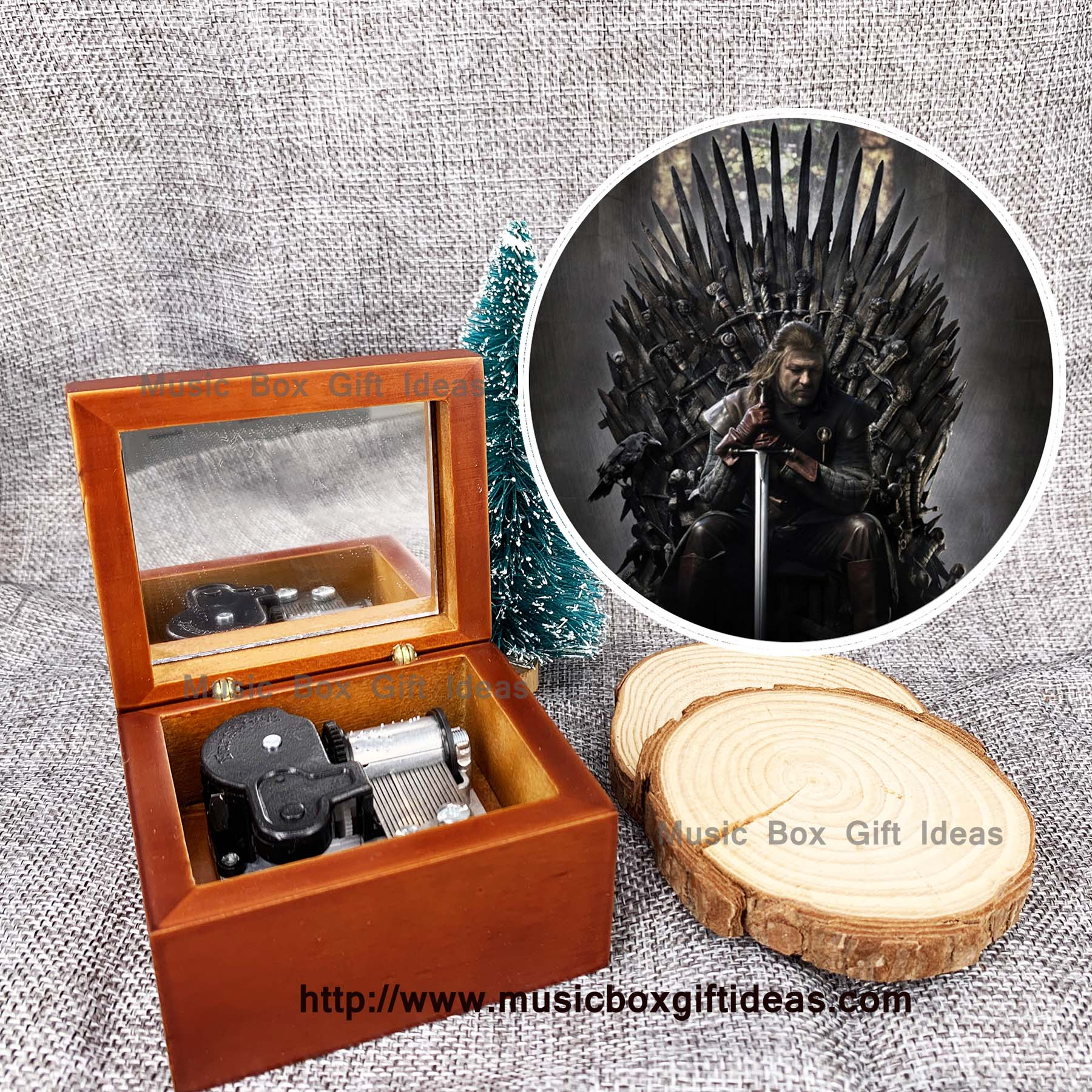 Game of Thrones Theme Song 18 Note Wooden Windup Music Box - Music Box Gift Ideas