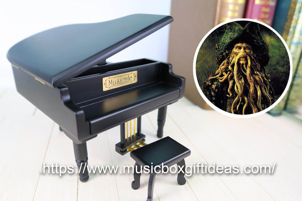 Davy Jones from Pirates of the Caribbean 18-Note Music Box Gift (Black Piano Music Jewelry Box) - Music Box Gift Ideas