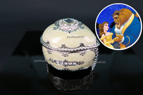 Heart Shaped Jewelry Music Box Disney Beauty and the Beast Soundtrack Tale As Old As Time Sankyo 18-Note Clockwork Gift (Yellow) - Music Box Gift Ideas