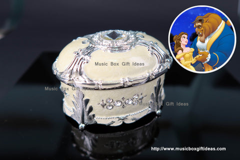 Oval Shaped Jewelry Music Box Disney Beauty and the Beast Soundtrack Tale As Old As Time Sankyo 18-Note Clockwork Gift (Yellow) - Music Box Gift Ideas
