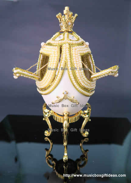 Eggshell White Merry Go Around Sankyo Music Box Studio Ghibli Castle In The Sky Carrying You Gift - Music Box Gift Ideas