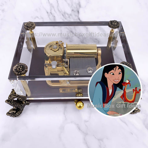 Disney Mulan Reflection 30-Note Wind-Up Music Box Gift (Glass) - Music Box Gift Ideas
