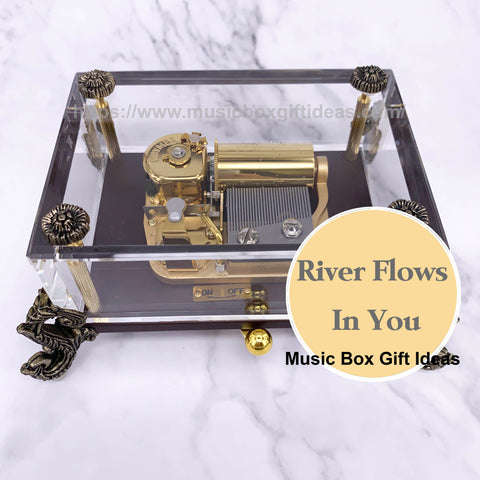 Yiruma River Flows In You 30-Note Wind-Up Music Box Gift (Glass) - Music Box Gift Ideas
