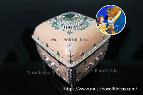 Square Jewelry Music Box Disney Beauty and the Beast Soundtrack Tale As Old As Time Sankyo 18-Note Clockwork Gift (Pink) - Music Box Gift Ideas