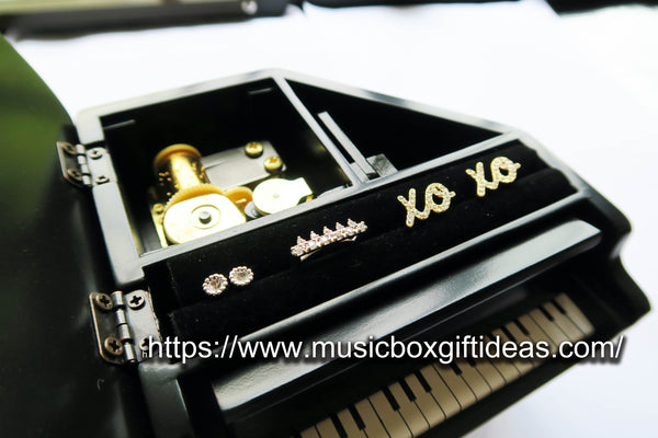 Musical The Phantom of the Opera Music of the Night 18-Note Music Box Gift (Black Piano Music Jewelry Box) - Music Box Gift Ideas