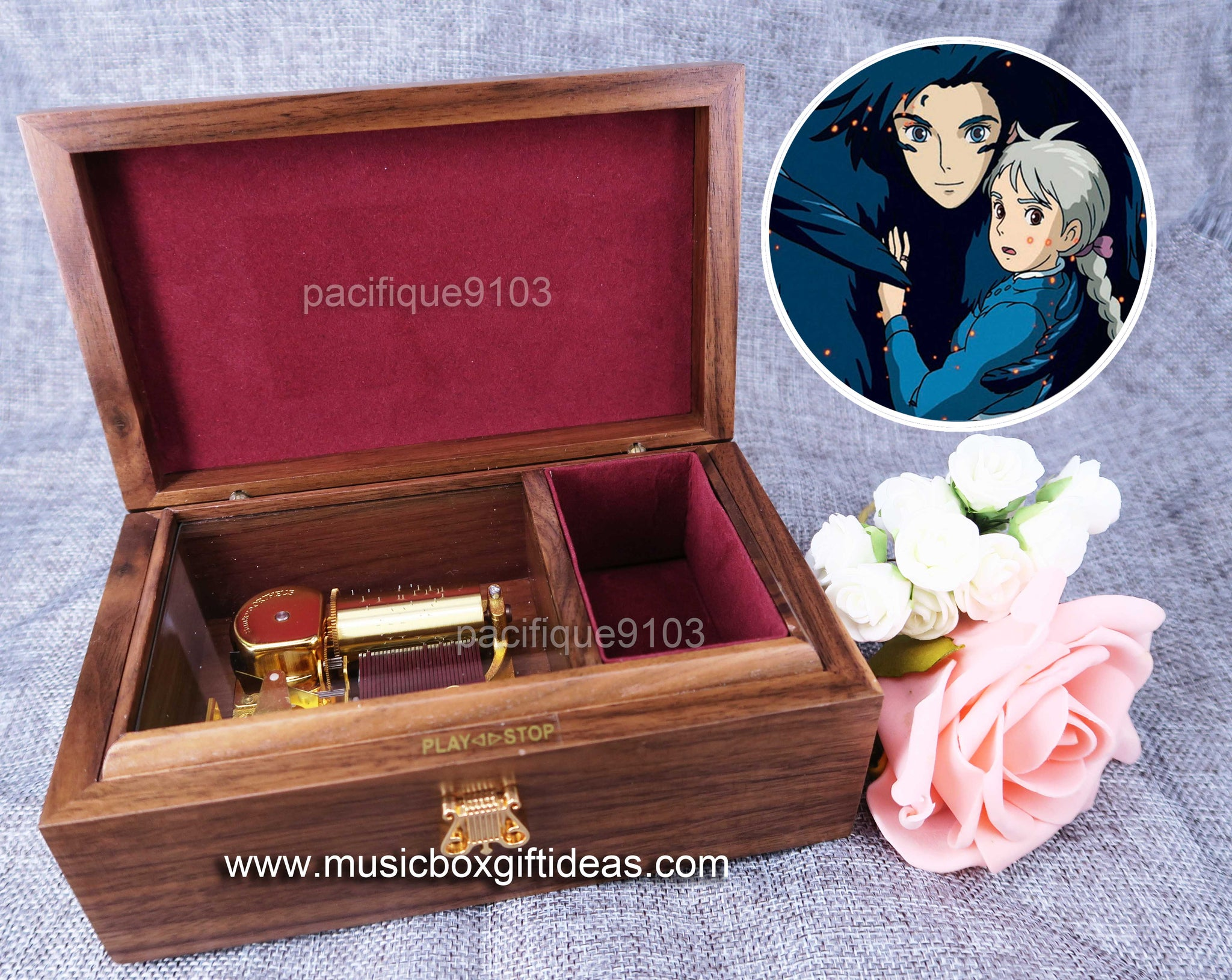 Howl's Moving Castle Merry Go Round of Life from Studio Ghibli 30-Note Wind-Up Music Box Gift (Wooden) - Music Box Gift Ideas