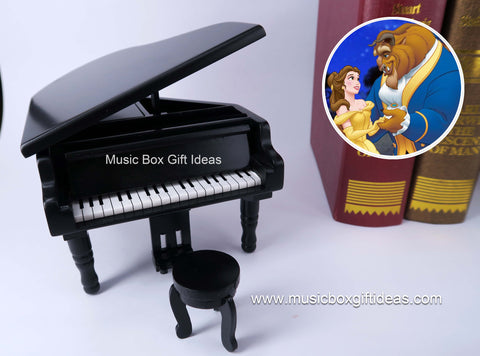 Disney Beauty and The Beast Tale as Old As Time 18-Note Music Box Gift (Wooden Black Piano) - Music Box Gift Ideas