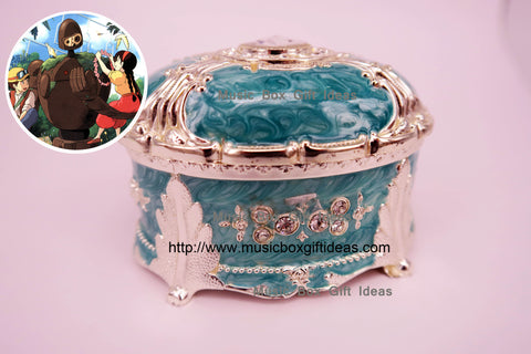 Oval Jewelry Music Box Castle in The Sky Carrying You Sankyo 18-Note Clockwork Gift (Green) - Music Box Gift Ideas