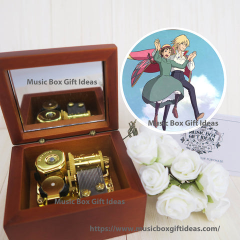 Howl's Moving Castle The Promise of The World from Studio Ghibli 18-Note Music Box Gift (Wooden Clockwork) - Music Box Gift Ideas