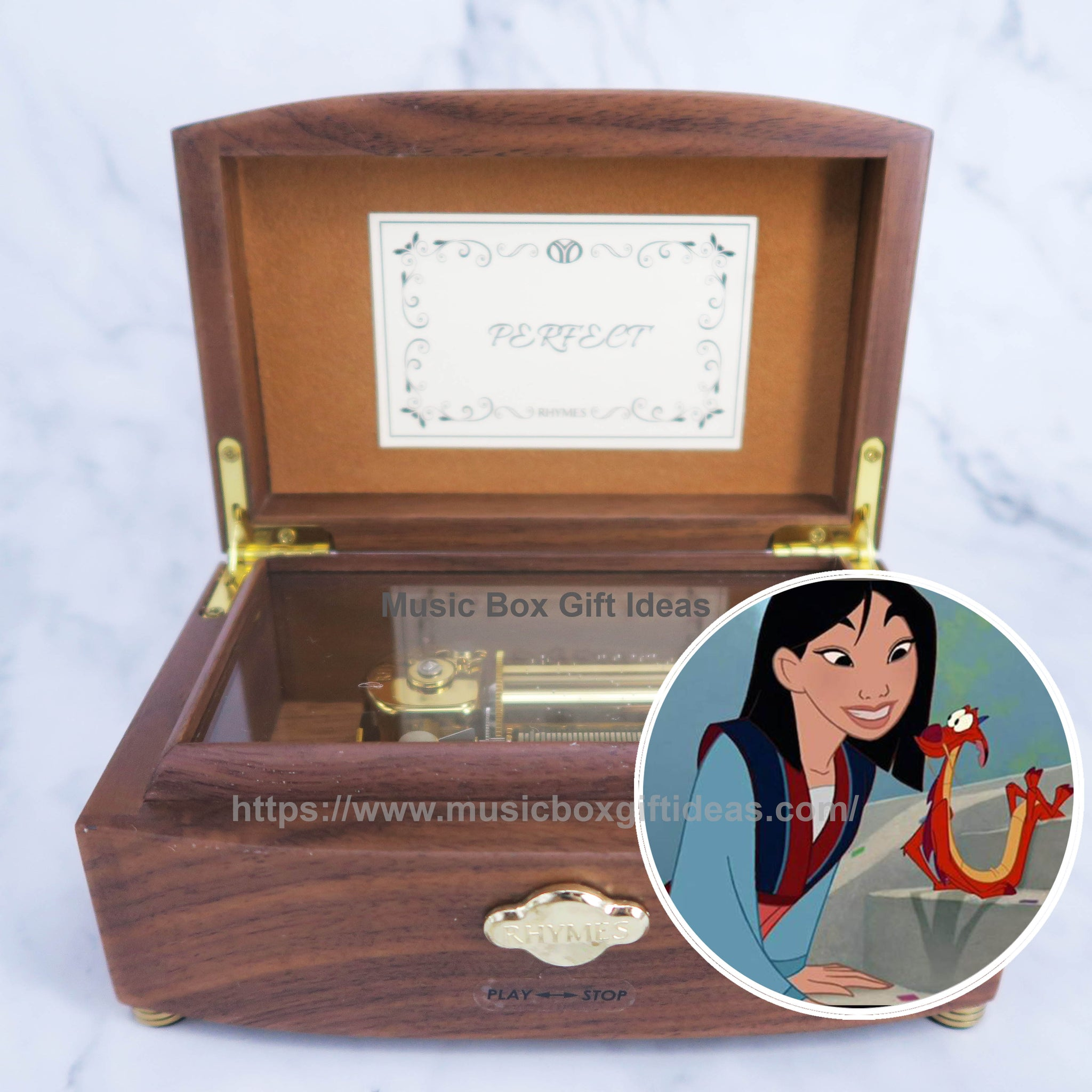 Disney Mulan Reflection 30-Note Wind-Up Music Box Gift (Wooden) - Music Box Gift Ideas
