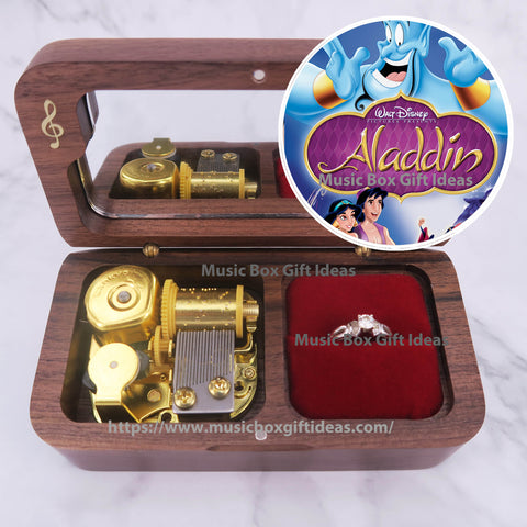 Disney Aladdin A Whole New World 18-Note Jewelry Music Box Gift (Wooden Clockwork) - Music Box Gift Ideas