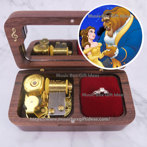 Disney Beauty and the Beast Tale As Old As Time 18-Note Jewelry Music Box Gift (Wooden Clockwork) - Music Box Gift Ideas