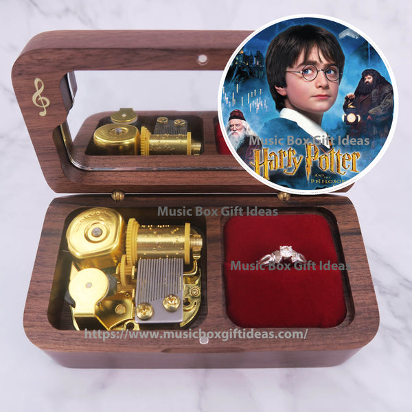 Harry Potter Hedwig's Theme 18-Note Jewelry Music Box Gift (Wooden Clockwork) - Music Box Gift Ideas