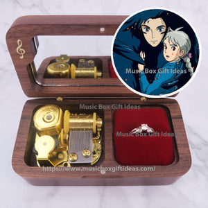 Howl's Moving Castle Merry Go Round of Life from Studio Ghibli 18-Note Jewelry Music Box Gift (Wooden Clockwork) - Music Box Gift Ideas