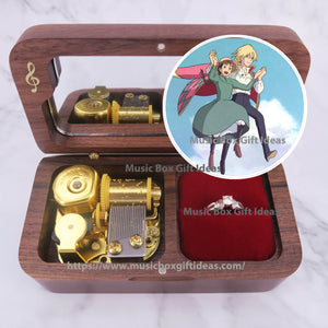 Howl's Moving Castle The Promise of The World from Studio Ghibli 18-Note Jewelry Music Box Gift (Wooden Clockwork) - Music Box Gift Ideas