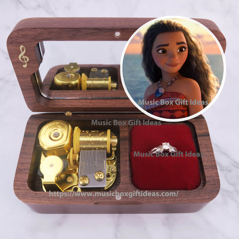 Disney Moana How Far I'll Go 18-Note Jewelry Music Box Gift (Wooden Clockwork) - Music Box Gift Ideas