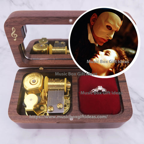 Musical The Phantom of the Opera Theme Soundtrack 18-Note Jewelry Music Box Gift (Wooden Clockwork) - Music Box Gift Ideas