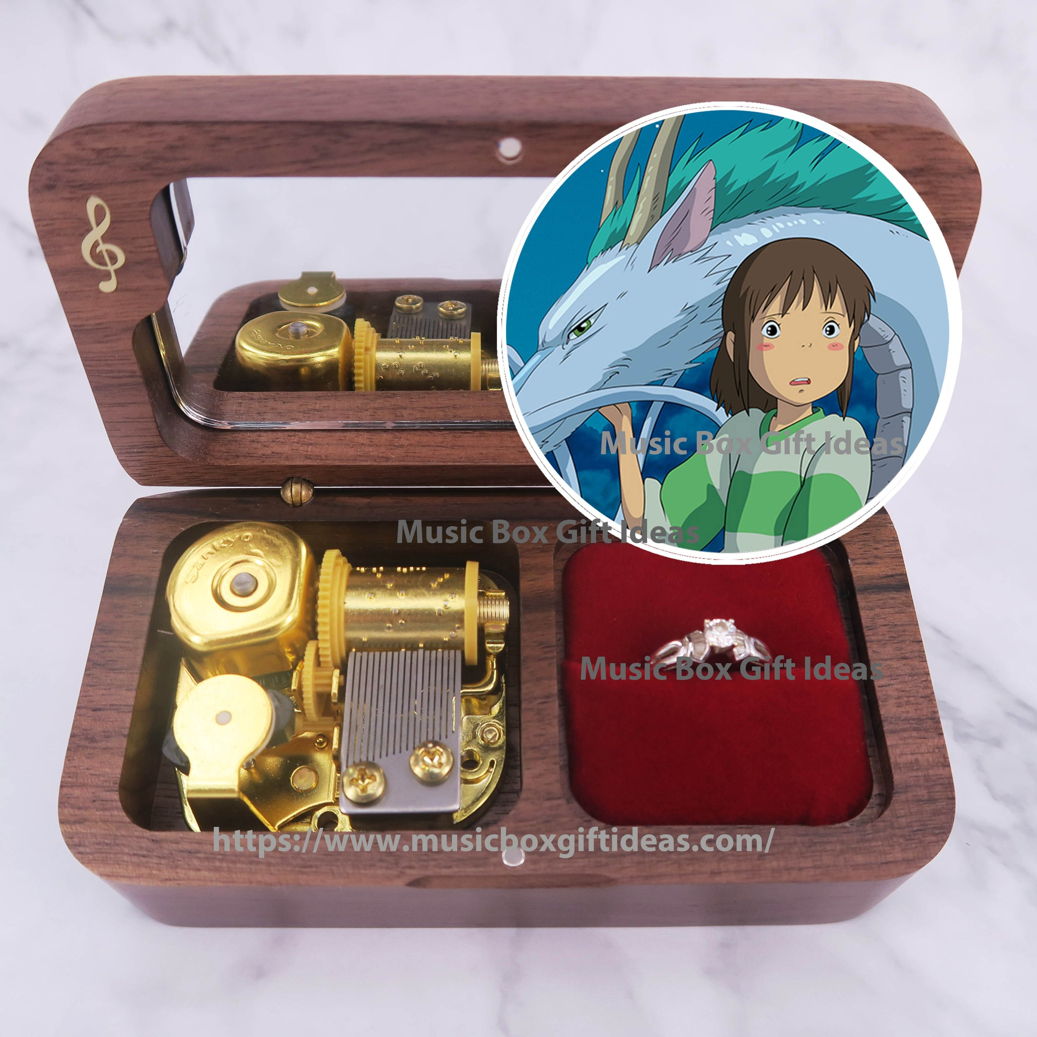 Spirited Away One Summer's Day from Studio Ghibli 18-Note Jewelry Music Box Gift (Wooden Clockwork) - Music Box Gift Ideas
