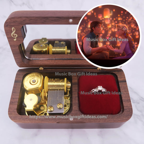 Disney Tangled Soundtrack I See The Light 18-Note Jewelry Music Box Gift (Wooden Clockwork) - Music Box Gift Ideas