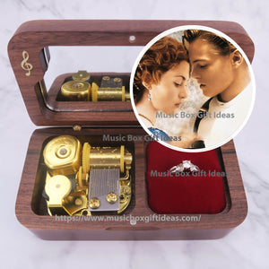 Movie Soundtrack Titanic My Heart Will Go On Celin Dion 18-Note Jewelry Music Box Gift (Wooden Clockwork) - Music Box Gift Ideas