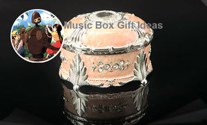 Oval Jewelry Music Box Castle in the Sky Carrying You Sankyo 18-Note Clockwork Gift (Pink) - Music Box Gift Ideas