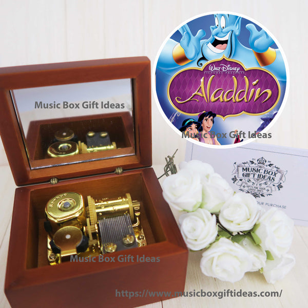 Disney Aladdin Soundtrack A Whole New World 18-Note Music Box Gift (Wooden Clockwork) - Music Box Gift Ideas