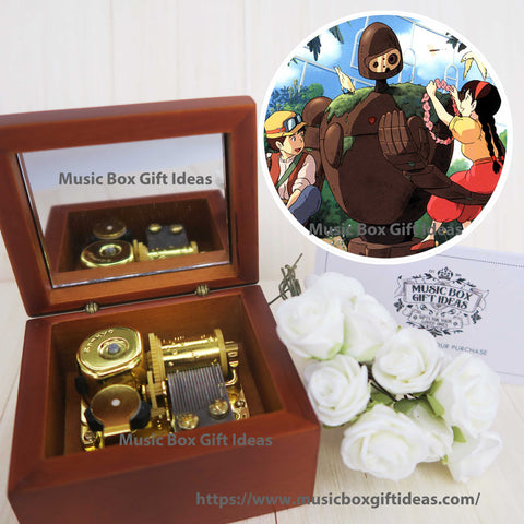 Castle in The Sky Carrying You Laputa from Studio Ghibli 18-Note Music Box Gift  (Wooden Clockwork) - Music Box Gift Ideas