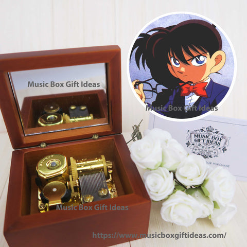 Case Closed Detective Conan Main Theme Soundtrack 18-Note Music Box Gift (Wooden Clockwork) - Music Box Gift Ideas