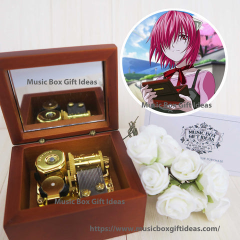 Japanese Anime Elfen Lied Lilium Lucy 18-Note Music Box Gift (Wooden Clockwork) - Music Box Gift Ideas