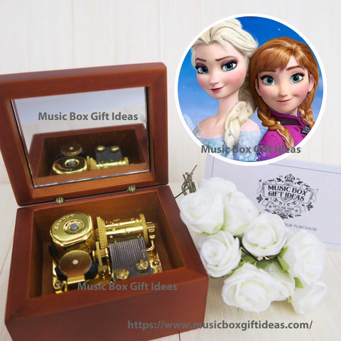 Disney Frozen Soundtrack Let it Go 18-Note Music Box Gift (Wooden Clockwork) - Music Box Gift Ideas