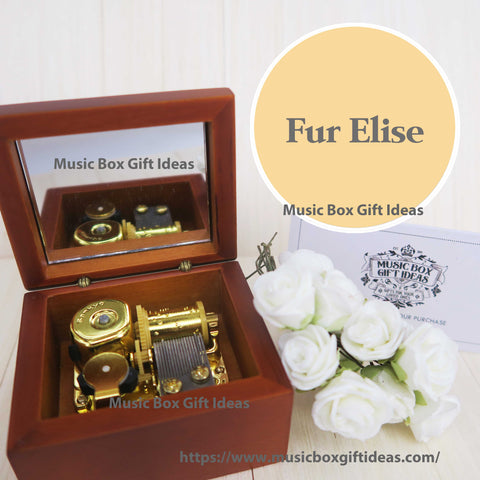 Beethoven Fur Elise Classical Music 18-Note Music Box Gift (Wooden Clockwork) - Music Box Gift Ideas