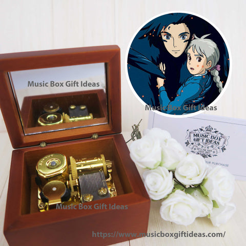 Howl's Moving Castle Merry Go Round of Life from Studio Ghibli 18-Note Music Box Gift (Wooden Clockwork) - Music Box Gift Ideas