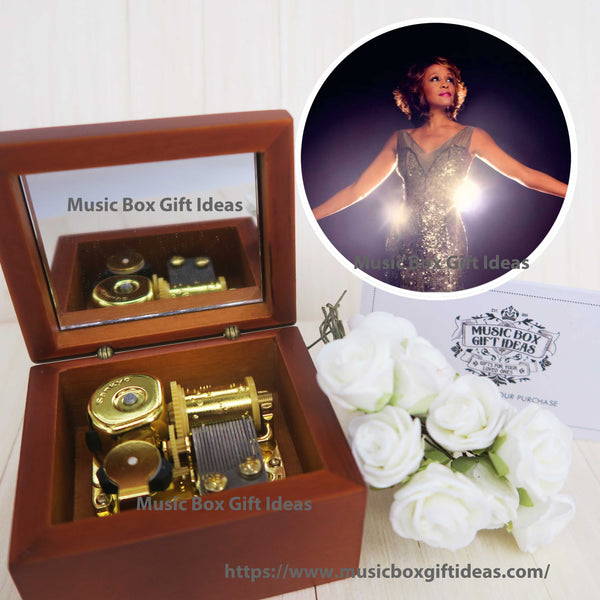 Whitney Houston I Will Always Love You Sankyo 18-note Wooden Windup Music Box - Music Box Gift Ideas