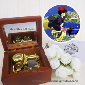 Kiki's Delivery Service 海の見える街 from Studio Ghibli 18-Note Music Box Gift (Wooden Clockwork) - Music Box Gift Ideas