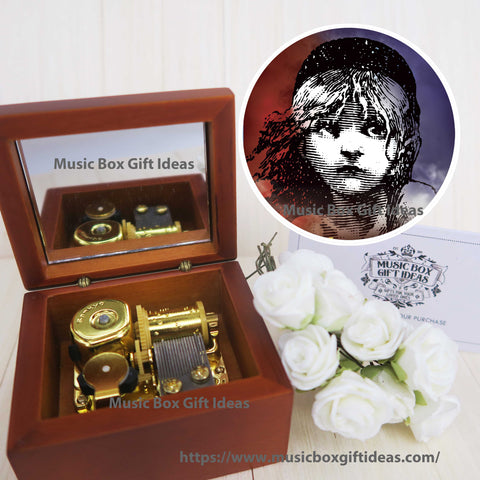 Musical Les Misérables I Dreamed A Dream 18-Note Music Box Gift (Wooden Clockwork) - Music Box Gift Ideas