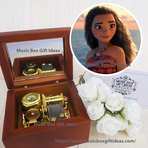 Disney Moana How Far I'll Go 18-Note Music Box Gift (Wooden Clockwork) - Music Box Gift Ideas