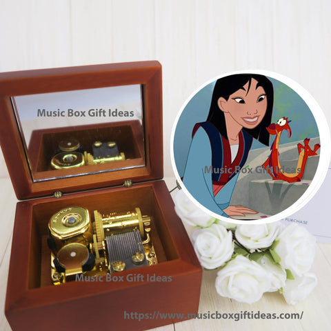 Disney Mulan Reflection Sankyo 18-Note Wooden Music Box Gift - Music Box Gift Ideas