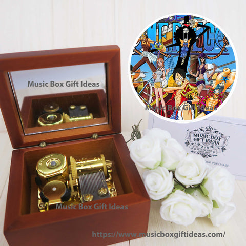 Japanese Anime One Piece Yohohoho Brook Binks Sake 18-Note Music Box Gift (Wooden Clockwork) - Music Box Gift Ideas