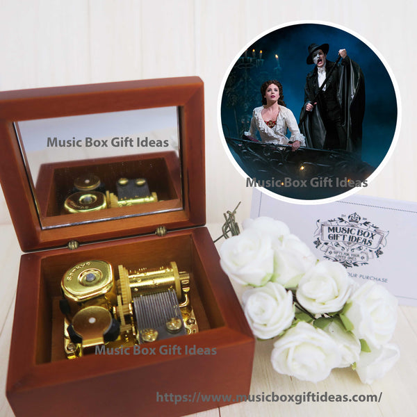 Musical The Phantom of the Opera Music of the Night 18-Note Music Box Gift (Wooden Clockwork) - Music Box Gift Ideas